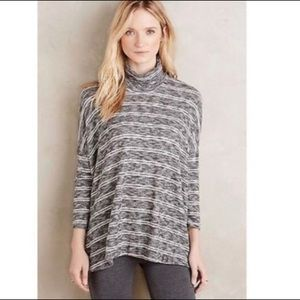 Anthropologie Postmark B&W Striped Mock neck Top